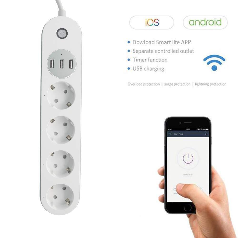 Prise Connect/ée LHMZNIY Multiprise Parafoudre 4 Prises avec 3 USB Prise de Courant Intelligente WiFi Rallonge Multiprise avec Cordon dalimentation 1.5M Compatible avec Android iOS Alexa Google Home
