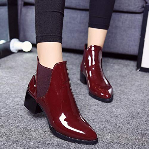 Slip for Leather Boots Patent Booties Toe Fashion Chunky Western SUKEQ Pointed Ladies Fall Boots Heel On Wine Ankle Women Winter Yqzxn4p