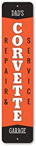 Dad's Chevy Corvette Repair & Service Metal Sign, Novelty Car Sign, Garage Decor - 9 x 36 inches