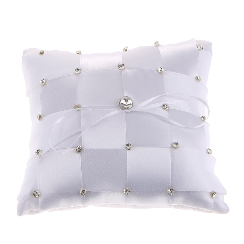 D DOLITY Wedding Reception Party Satin Crystal Grid Style Ring Bearer Pillow Cushion Bearer with Ribbon Bow