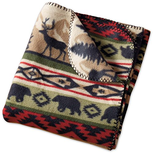 DII Design Imports Walk in the Woods Back Country Stripe Fleece Throw Blanket ~ 50 x 60 ()