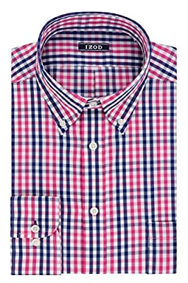 IZOD Men's Regular Fit Exploded Plaid Buttondown Collar Dress Shirt