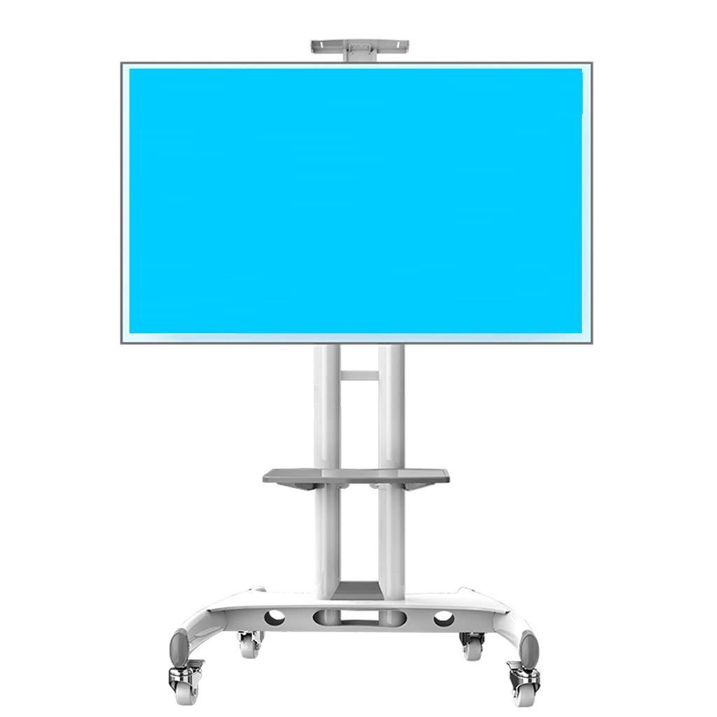 テレビスタンド 収納付きのブラックホワイトのテレビカート、32インチ - 65インチのフラットスクリーンテレビ用の寝室の会議室のコーナー用の自立回転自在テレビスタンド (色 : 白)  白 B07S99HY47