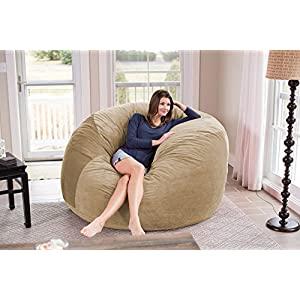 Chill Sack Bean Bag Chair: Giant 6' Memory Foam Furniture Bean Bag - Big Sofa with Soft Micro Fiber Cover - Tan Pebble