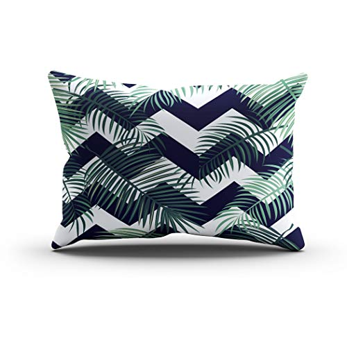 Janyho Throw Pillow Cover Green Tropical Exotic Palm Comfortable Print Sofa Bedroom Polyester Hidden Zipper Pillowcase Cushion Cover Lumbar 12x24 Inch