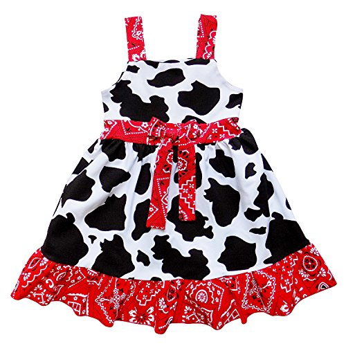 So Sydney Toddler Girls Stretch Cotton Boho Floral Mixed Fabric Spring Summer Dress (L (5), Cowgirl Red (Cowgirl Dress Kids)