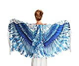 Designer Blue Silk & Cashmere Scarf With Wide Spread Bird Feather Wings (Blue Wings)