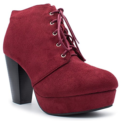 Forever Camille-86 Frauen Komfort Stapeln Chunky Heel Lace Up Ankle Booties Premium Burgunder