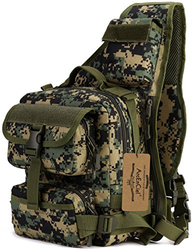 Travel Military Tactical Army Camo Sling Backpack Chest Bag army green - 6