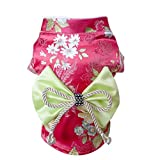 Creation Core Adorable Brocade Pet Kimono Dress Japanese Style Pet Dress Floral Bowknot Pet Costume for Dogs Cats - Rose L