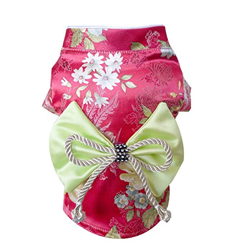 - Creation Core Adorable Brocade Pet Kimono Dress Japanese Style Pet Dress Floral Bowknot Pet Costume for Dogs Cats, Rose L