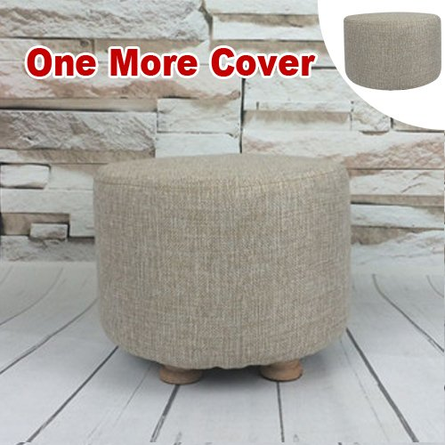 Sino Banyan Feet Stool/Ottoman with 1 More Cover,Soft Quick Detachable Cushion,Beige & Beige (Pottery Barn White Frames)