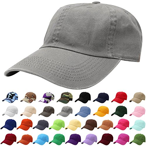 - Falari Baseball Cap Hat 100% Cotton Adjustable Size Grey 1808