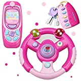 MagicCindy 3 in 1 Interactive Musical Toys – Steering Wheel, Mobile Phone & Car Keys with Lights Music and Sounds