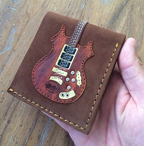 FAN MERCH Jerry Garcia Handmade Real Leather Rosebud Guitar Wallet with Pick Holder