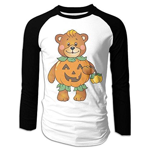 Creamfly Mens Halloween Pumpkin Bear Long Sleeve Raglan Baseball Tshirt L
