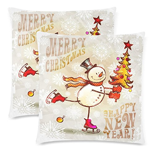 InterestPrint 2 Pack Skating Happy Snowman with Christmas Tree Throw Cushion Pillow Cover 18x18 Twin Sides, Merry Christmas Happy New Year Gift Zippered Pillow Case Pillowcase Set Shams Decorative