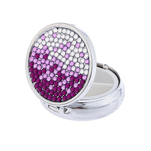 Global_Shopper Luxury Handmade Portable Round Gradient Purple Bling Crystal Pill Box Cute Travel Rhinestone Pill Container Case ()