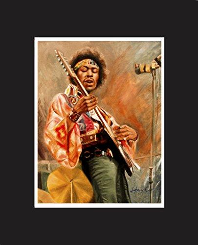 Jimi Hendrix, American rock guitarist, singer, and songwriter. Oil Painting Print 16 X 20