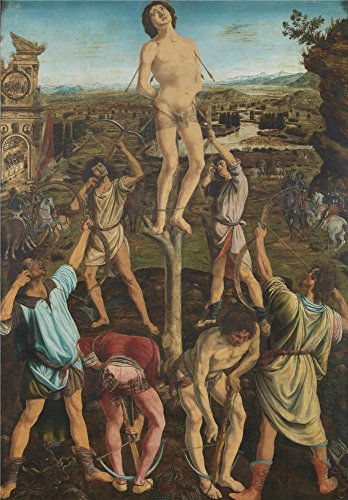 'Antonio Del Pollaiuolo And Piero Del Pollaiuolo The Martyrdom Of Saint Sebastian ' Oil Painting, 16 X 23 Inch / 41 X 58 Cm ,printed On Perfect Effect Canvas ,this Art Decorative Prints On Canvas Is Perfectly Suitalbe For Powder Room Decoration And Home Decoration And Gifts ()