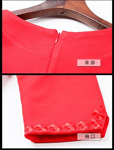 Sleeve Evening Round Gown Red Slim 4 cotyledon Dresses Fit Neck Women`s 3 50g1tq5xwO