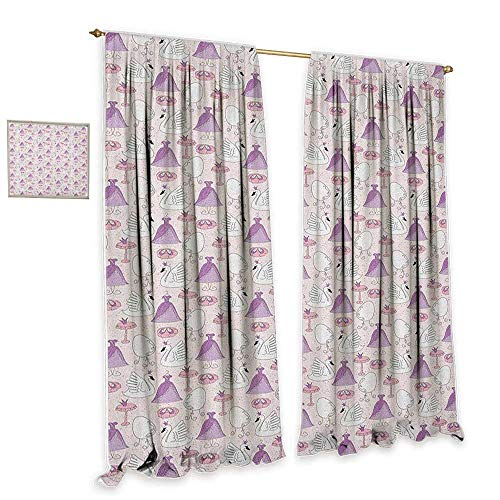 cobeDecor Swan Blackout Curtains Princess Dress Gown Magic Shoes Mirror and Cute Swans with Tiaras Pattern Blackout 55