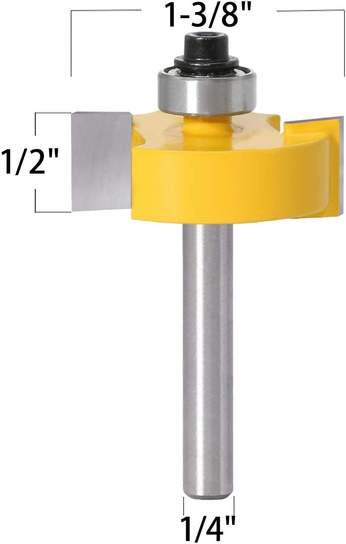 1//2 Inch Shank Rabbet Router Bit with 6 Bearings Set -1//8 5//16 3//8 1//4 7//16 1//2 Interchangeable Bearings for Solid Wood Particle Board Plywood