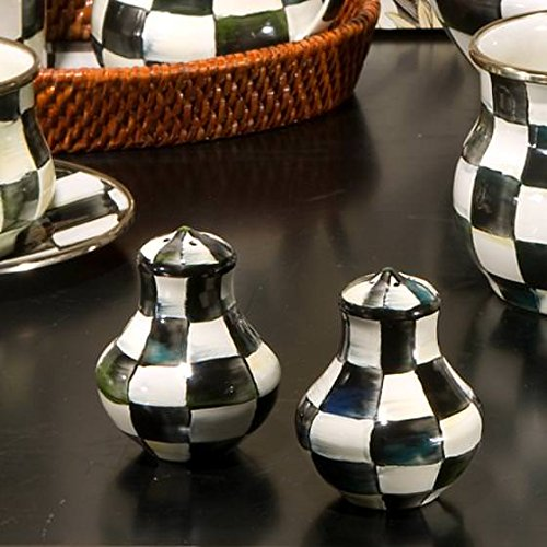 MacKenzie-Childs Salt and Pepper Shaker - Black and White, Enamel Courtly Check Print Set of 2 Mini Grinder 2.5'' Diameter 3'' Tall