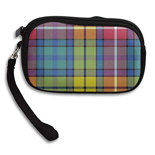 Coin Purse Buchanan Ancient Tartan Zipper Wallet Mini Wristlet Cash Phone Holder Change Pouch