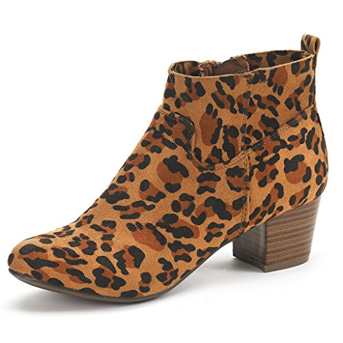 PAIRS Cowboy Ankle Women's Leopard Booties Chunky DREAM KEENY Heel a6F1xcqw