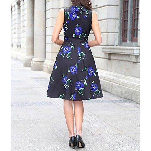 Honghu Elegante Sin Manga Cuello de la Camisa Impresión Por la Rodilla Cintura Vestido para Mujer de Verano Azul