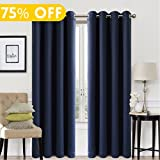 Blackout Window Curtain Panel Grommet Top Drapes 2 Panel Set Room Darkening Thermal Insulated Blackout Drapes for Bedroom (W52 x L84,Navy)