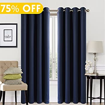 Blackout Window Curtain Panel Grommet Top Drapes 2 Panel Set Room Darkening  Thermal Insulated Blackout Drapes