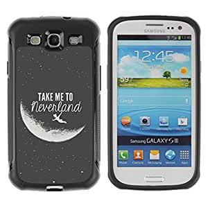 King Case@ Take Me To Neverland Moon Black White Rugged hybrid Protection Impact Case Cover For S3 Case ,I9300 Case Cover ,I9308 case ,Leather for S3 ,S3 Leather Cover Case