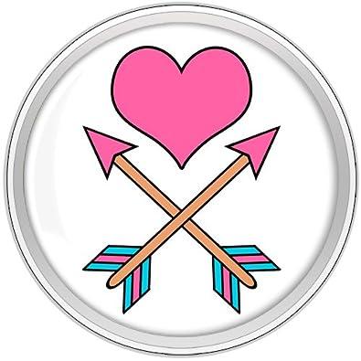 BODY CANDY ACERO INOXIDABLE Tatuaje Inspirado Rosa Corazón Cupidos FLECHAS Tornillo Ajuste Enchufe Par 18mm: Amazon.es: Joyería
