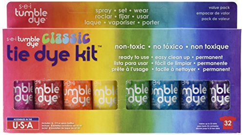 Tie Dye Fabric Paint - SEI Tumble Dye Craft and Fabric Spray, 2-Ounce, Mixed Colors, 8 Per Package