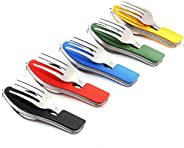 Camping Utensils Cutlery Set - 4 in 1 (Fork/Spoon/Knife/Bottle Opener) -5 Pack- Stainless Steel Folding &