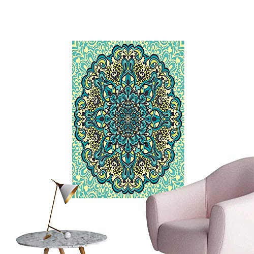 Ethnic Wall Mural Wallpaper Stickers Abstract Decorative Flower in Mandala Style Nature Elements Vibrant Girls Bathroom Turquoise Teal Light Yellow W32 x H48