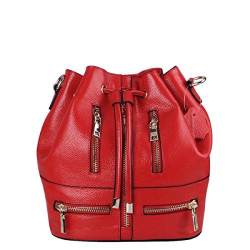 GSHGA Nueva Moda De Doble Uso Bolsa De Cubo Diagonal Paquete De Cuero Genuino Bolsos Bandolera Totes,Purple Red
