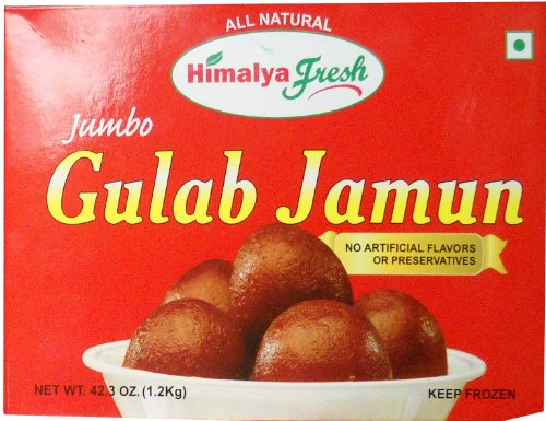 HIMALYA FRESH Gulab Jamun 42.3 Oz (Approx 20 Pieces) - Premium Authentic Indian Food & Sweets Made With Pure Buffalo Milk Solids- No Fillers Or Preservatives (1 Box)