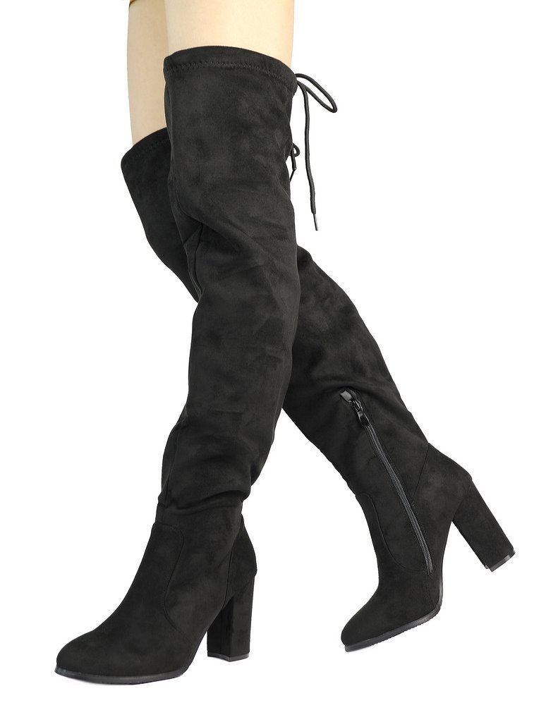 DREAM PAIRS Women's New Shoo Black Over The Knee High Heel Boots Size 8 B(M) US
