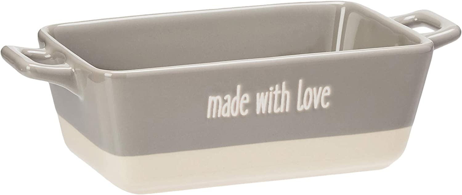"Creative Co-Op Small ""Made with Love"" Grey Rectangle Stoneware Baking Dish"