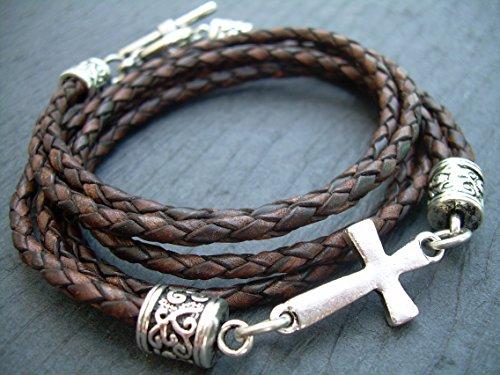 Braided Leather Bracelet Antique Religious