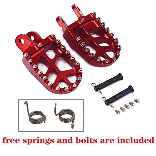 JFG RACING Billet MX Wide Foot Pegs Pedals Rests For CR80R/RB 1996-2002 / CR85R/RB 2003-2007 / XR250R 1996-2004 / XR400R 1996-2004 / XR600R 1989-2000 / XR650L 1992-2019 / XR650R 2000-2007 ()