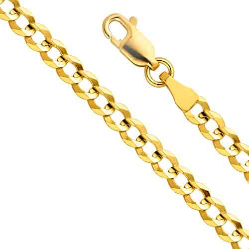 14k Yellow Gold Solid Men's 3.5mm Cuban Curb Chain Necklace with Lobster Claw Clasp