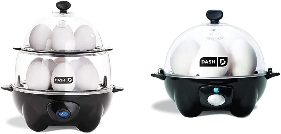 DASH Deluxe Rapid Egg Cooker Electric, 12 Capacity, with Auto Shut Off Feature, Black & black Rapid 6 Capacity Electric Cooker with Auto Shut Off Feature, One Size