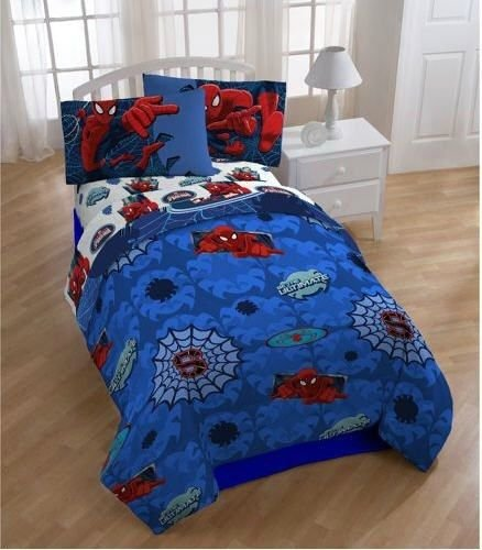 Spiderman Reversible Boys Full Comforter & Sheets (5 Piece Bed In A Bag)