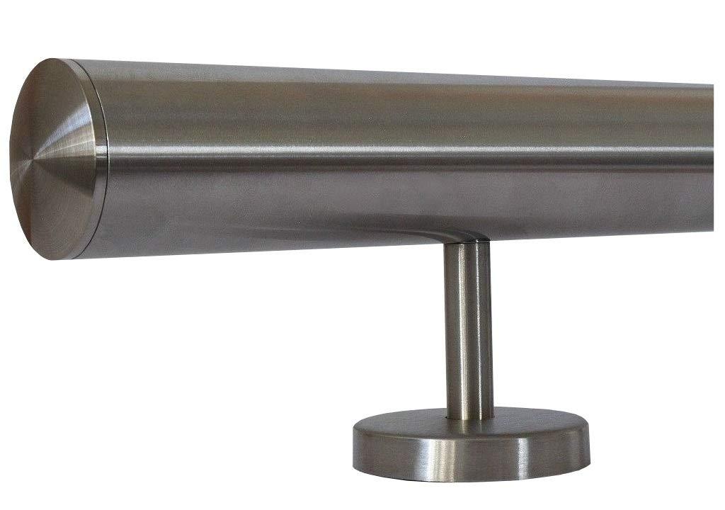 6m aus einem St/ück und unterschiedlichen Endst/ücken zum Ausw/ählen /Ø 33,7 mm mit gerade Halter Edelstahlhandlauf L/änge 0,3m Enden mit Bogen zur Wand zum Beispiel: L/änge 100 cm mit 2 Halter