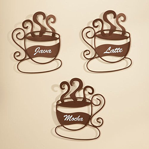 Mocha Java Accent - Set 3 Mocha Latte Java Coffee Cup Theme Kitchen Wall Art Metal Home Decor