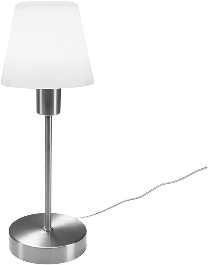 Fuss in Nickel MATT TOUCH 2x Dimmbare LED Tischleuchte mit Glasschirm in weiss